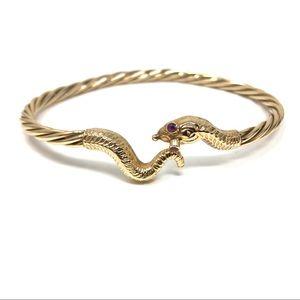 14K, rubies serpent bangle bracelet, 15.1g
